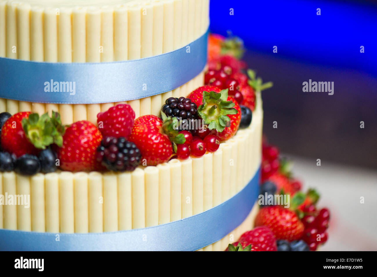 Details On A Wedding Cake Summer Berry Fruits And White