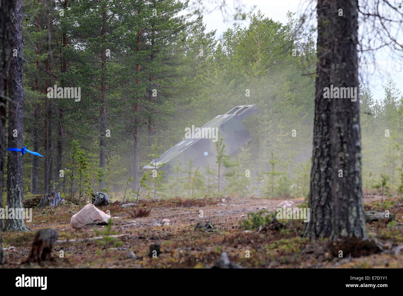 Finnish Defence Forces Heavy Rocket Launcher M270 MLRS (298 RSRAKH 06) before shooting - Stock Image