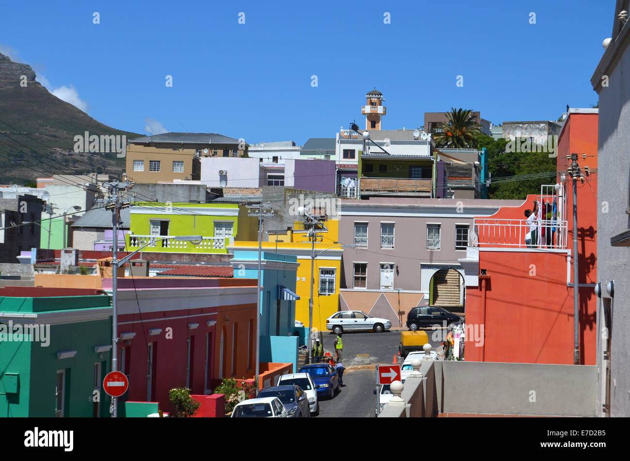 Brightly coloured houses in Bo Kaap, muslim community in Cape Town, South Africa. 2014 - Stock Image