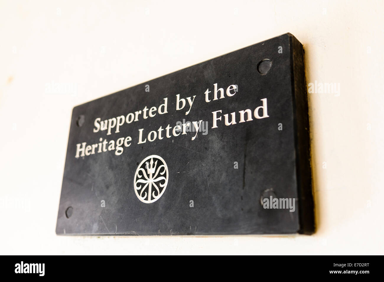 Plaque in a building which has received funding from the Heritage Lottery Fund - Stock Image