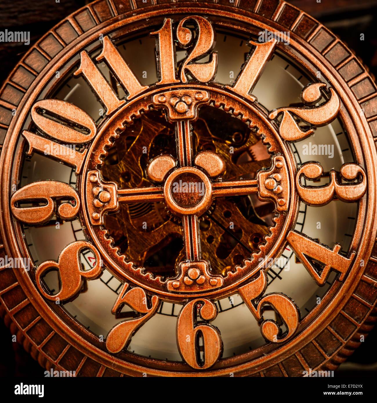 Antique clock dial close-up. Vintage pocket watch. Stock Photo