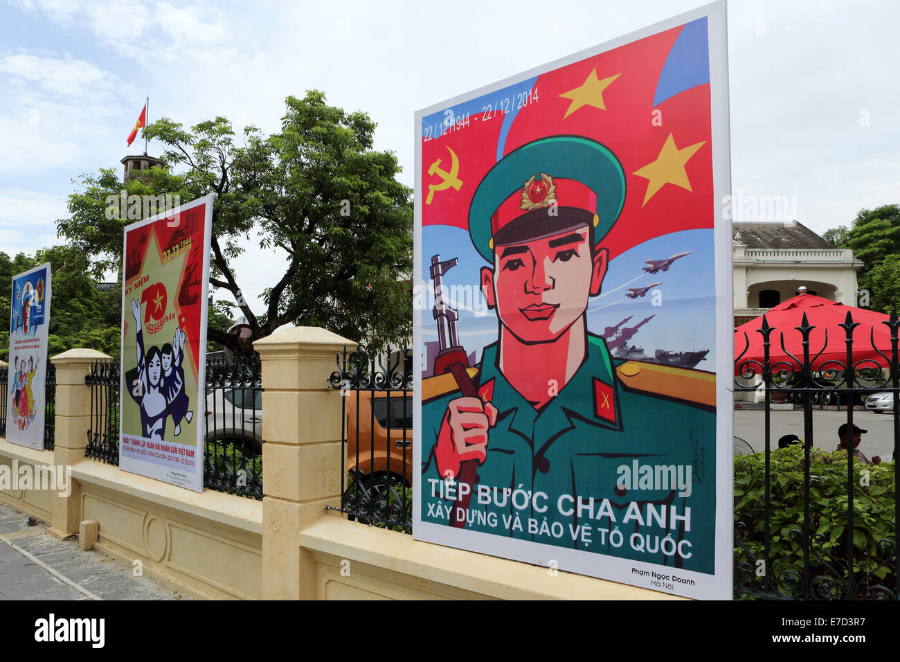 Propaganda posters outside of the Vietnam Military History Museum in Hanoi, Vietnam. - Stock Image