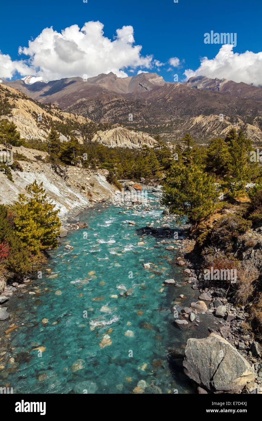 Mountain river in Himalayas, Annapurna Circuit trail in Nepal. - Stock Image
