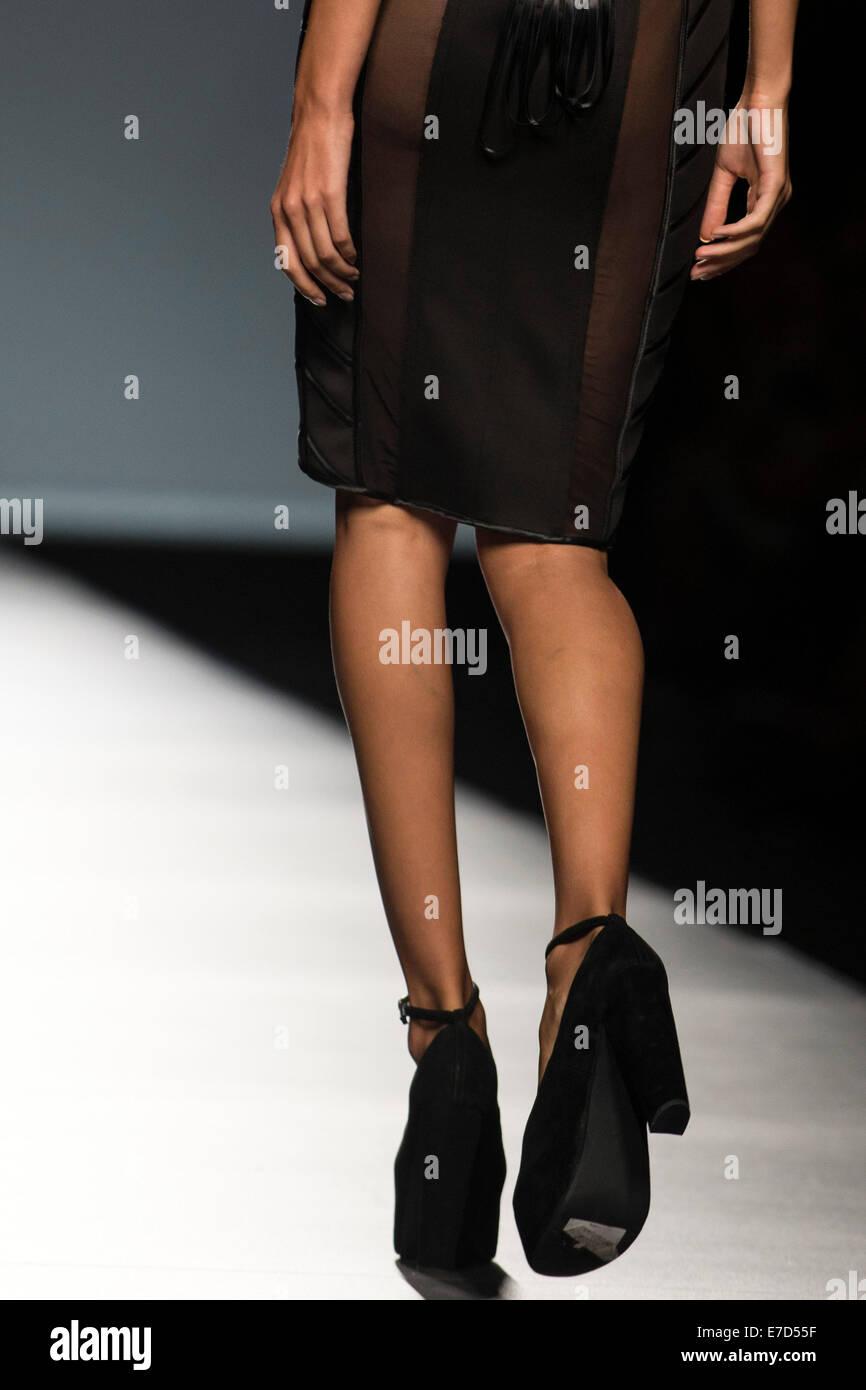 Models pose on the catwalk during the Maya Hansen Fashion Show at Fashion Week Madrid Spring/Summer 2015 in Madrid - Stock Image