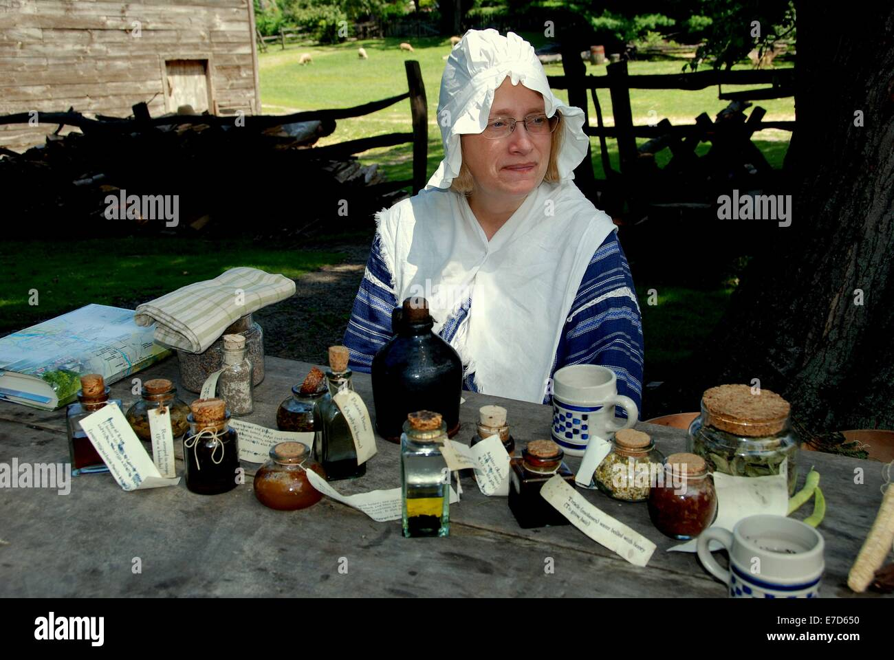 SLEEPY HOLLOW, NY:  Woman interpreter wearing 18th century garb with traditional colonial medicines and herbal potions - Stock Image