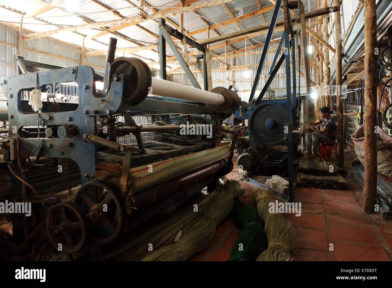 A sedge weaving factory at Tan Chau, Vietnam. - Stock Image