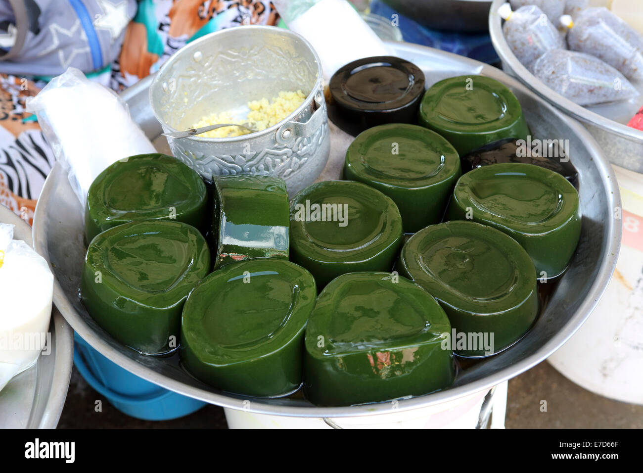 Foodstuffs for sale at a stall at the local market the Mekong River in Sa Dec, Vietnam. - Stock Image