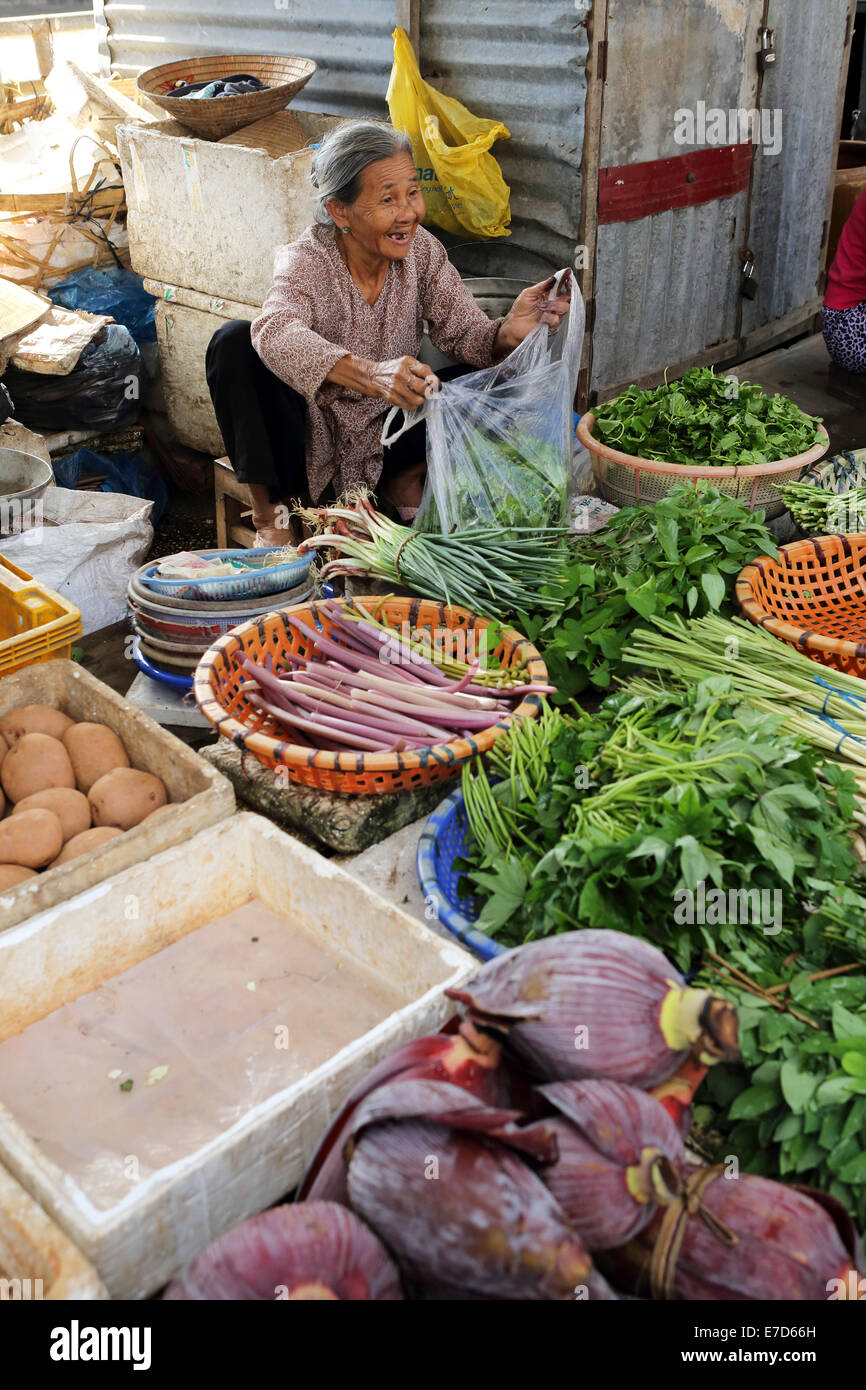 An aged woman at a fruit and vegetable stall at the local market the Mekong River in Sa Dec, Vietnam. - Stock Image