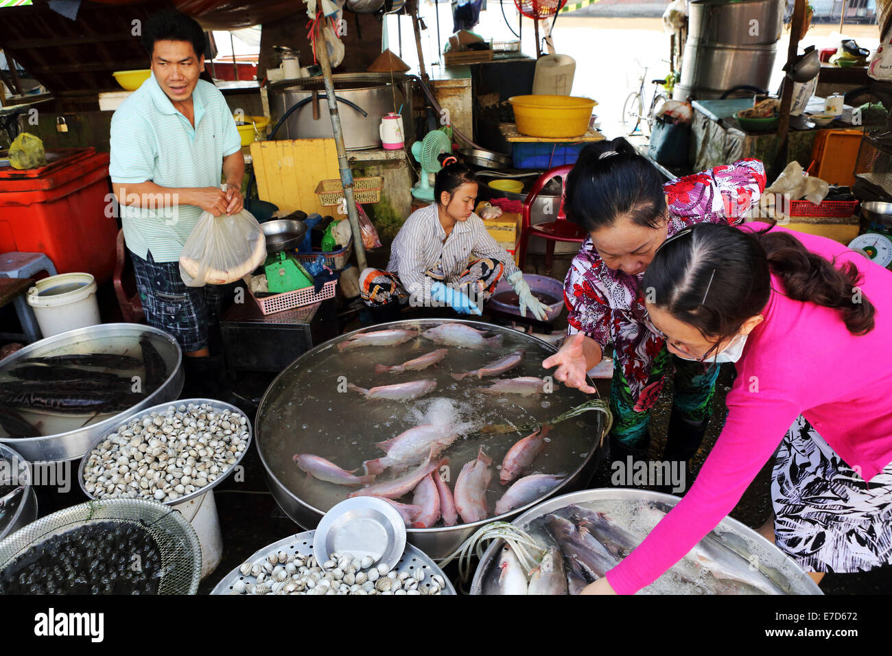 A fish stall at the local market the Mekong River in Sa Dec, Vietnam. - Stock Image
