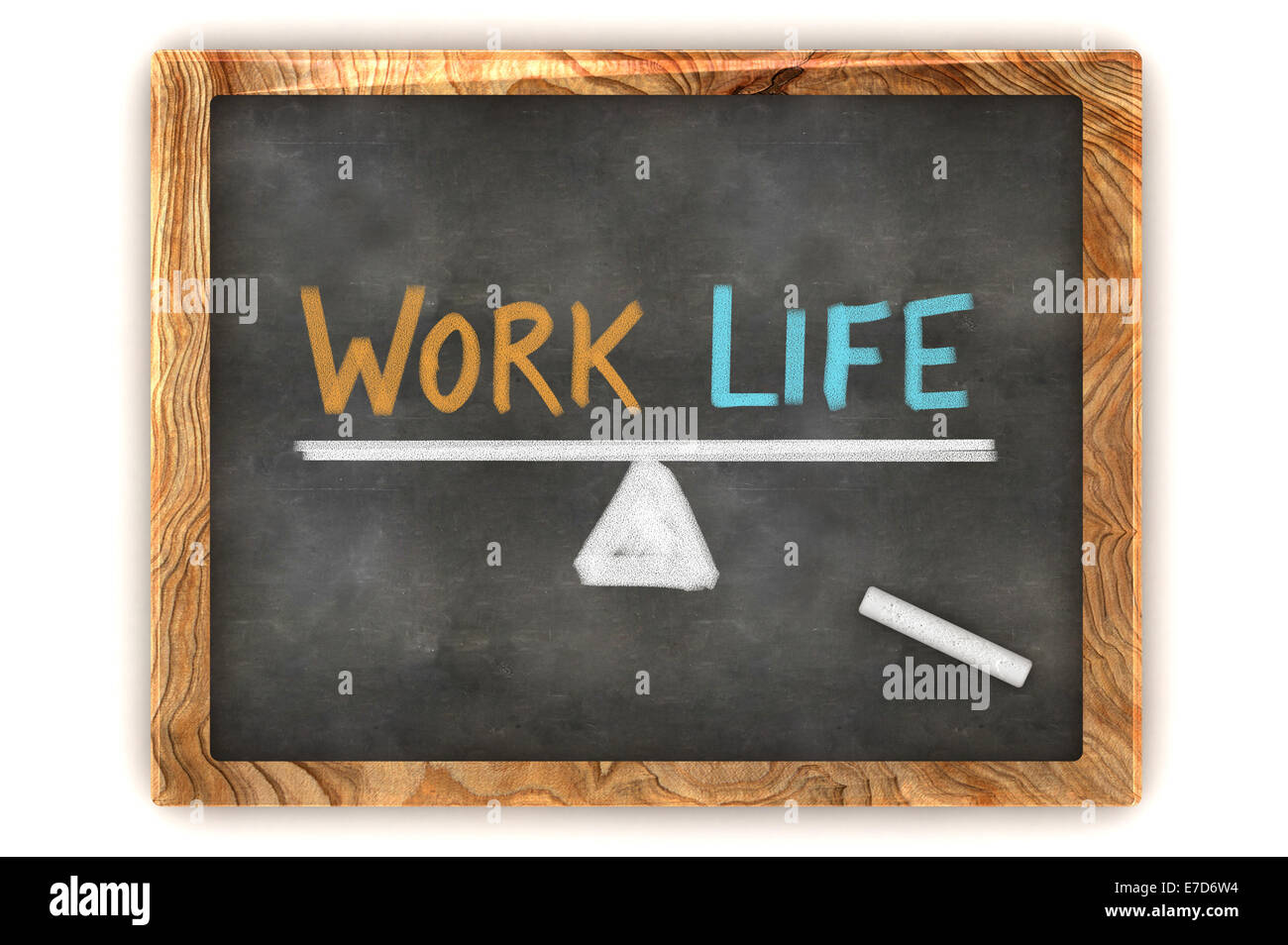 A Colourful 3d Rendered Concept Illustration showing a balance between work and life, written on a blackboard - Stock Image