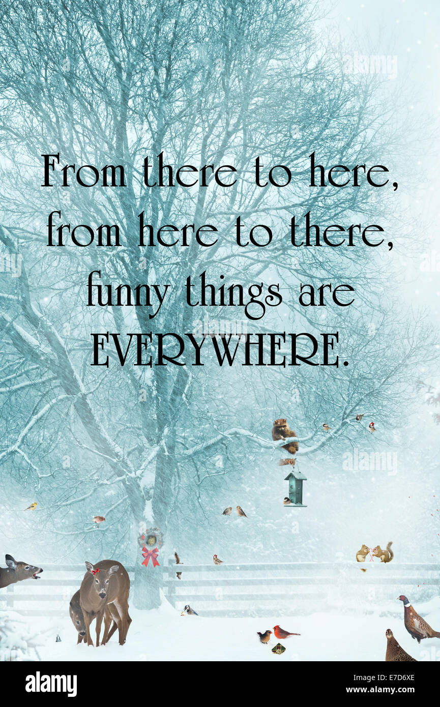 Inspirational quote about humor by Dr. Suess, with funny animals gathering during a snowstorm. - Stock Image