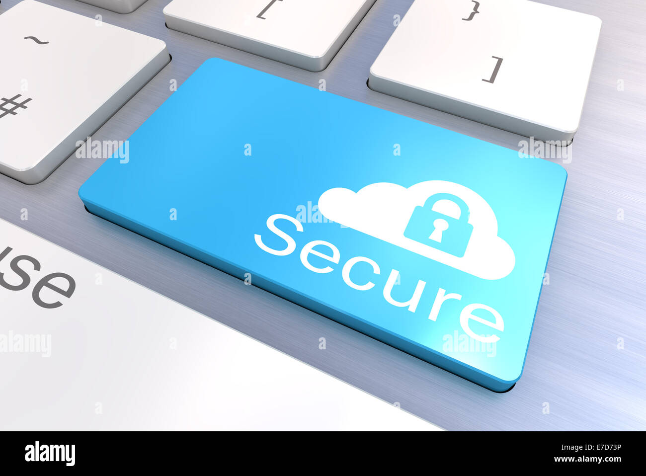 A Colourful 3d Rendered Illustration showing a Cloud Secure Concept on a Computer Keyboard - Stock Image