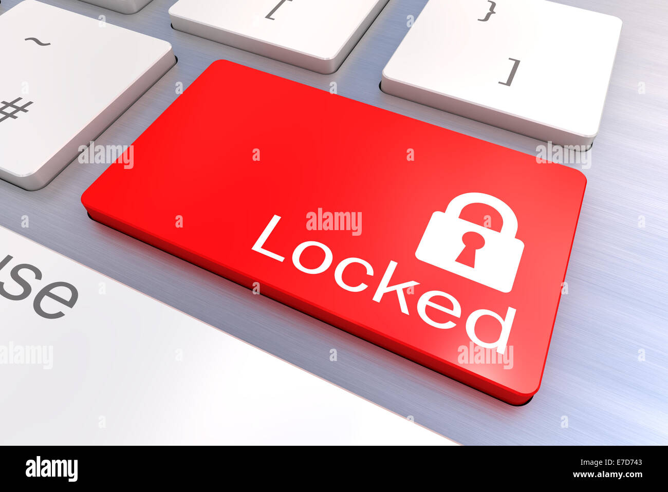 A Colourful 3d Rendered Illustration showing a Unlocked Security concept on a Computer Keyboard - Stock Image
