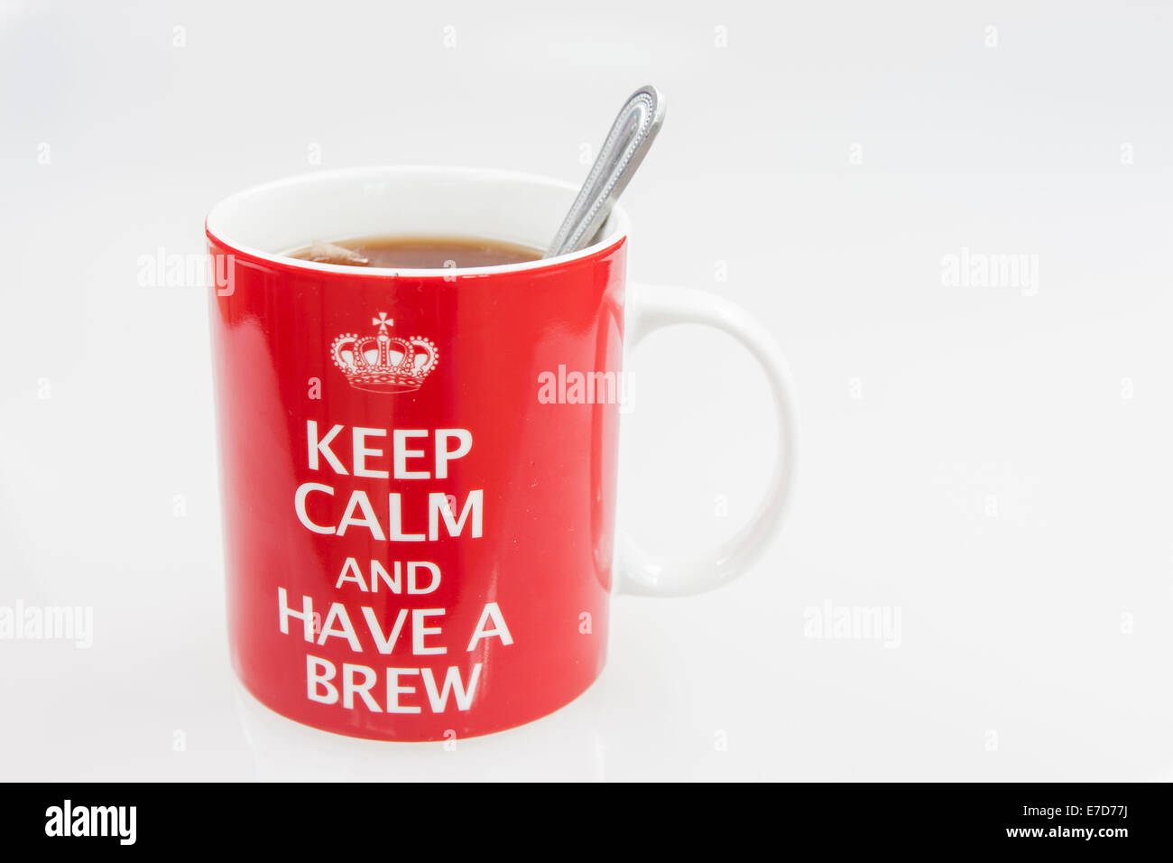 making a cup of tea in a keep calm and have a brew mug stock photo