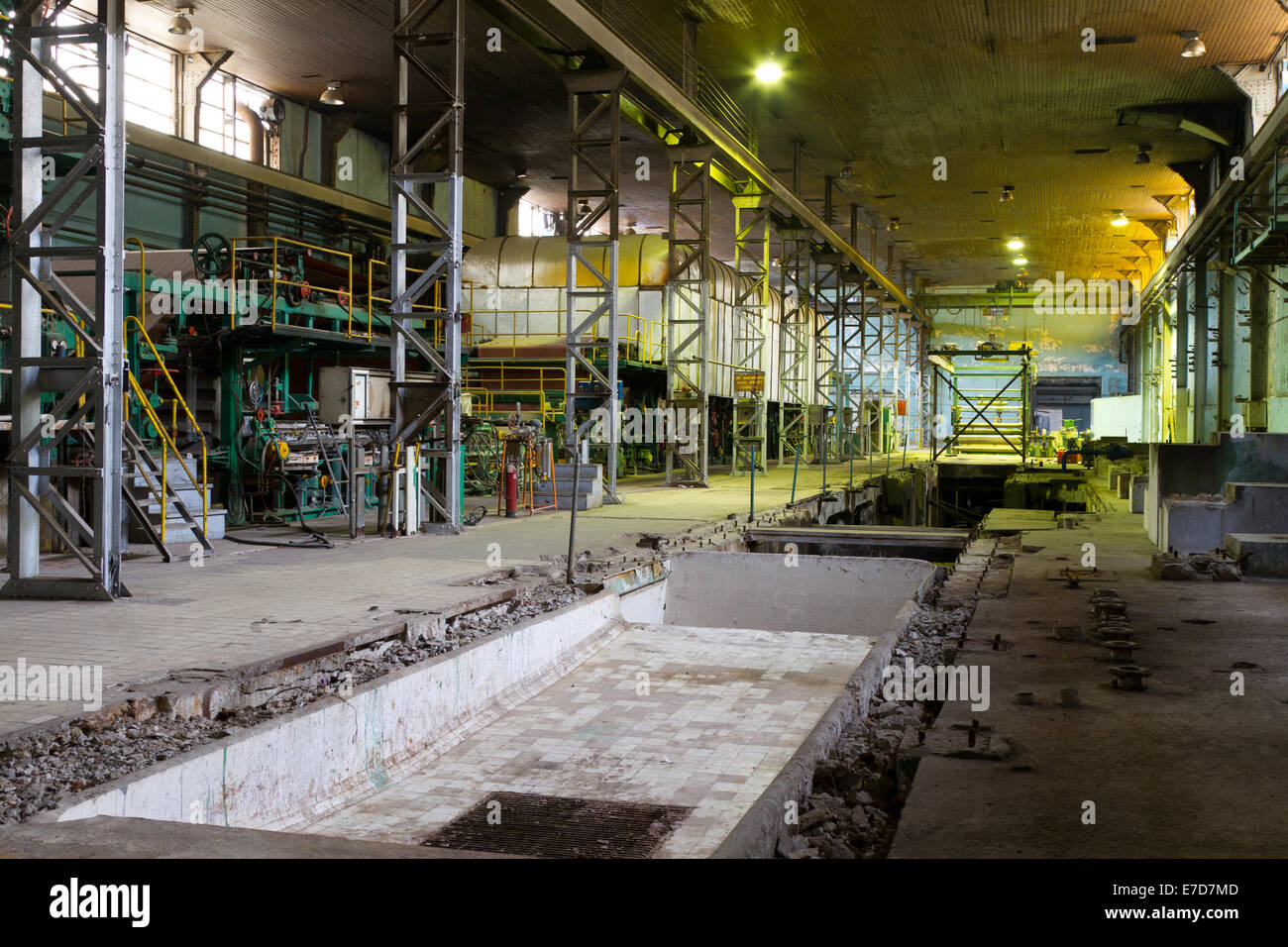 Inside an Old Abandoned Factory - Stock Image