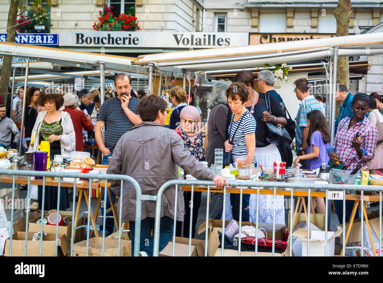 Sunday market Paris France - Stock Image