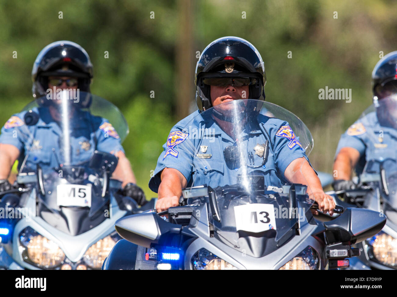Colorado State Police motorcycles, USA Pro Challenge bike race, Stage 3, central Colorado, USA - Stock Image