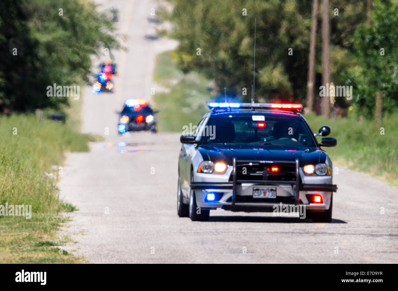 Colorado State Police cars & motorcycles, USA Pro Challenge bike race, Stage 3, central Colorado, USA Stock Photo