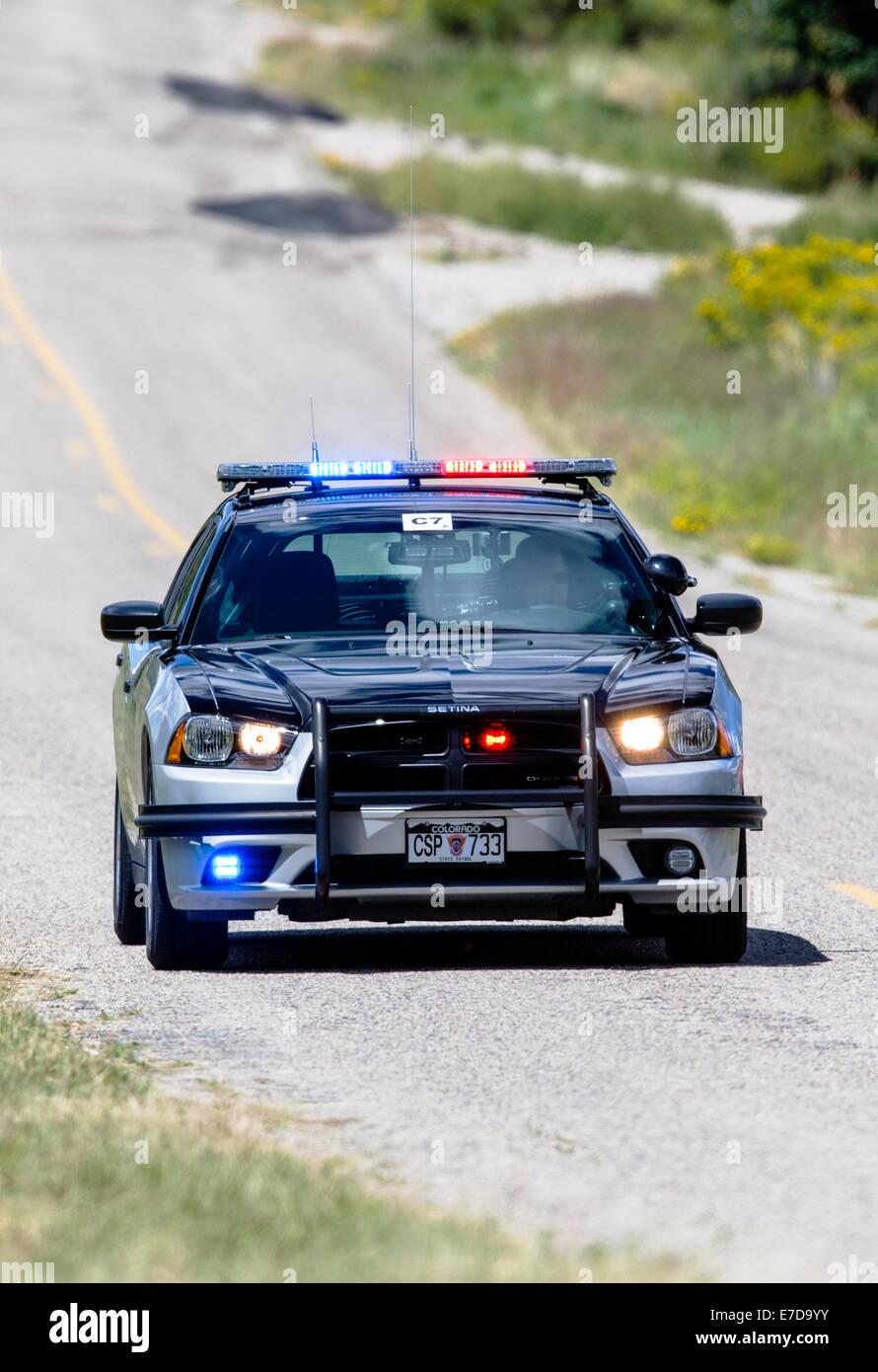 Colorado State Police car, central Colorado, USA Stock Photo