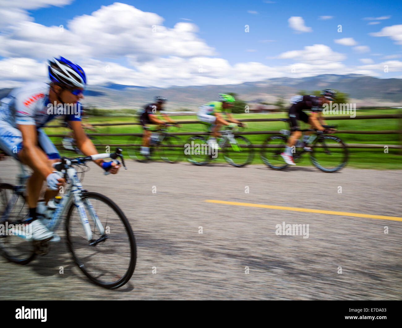 Professional bicycle racers, USA Pro Challenge bike race, Stage 3, central Colorado, USA - Stock Image