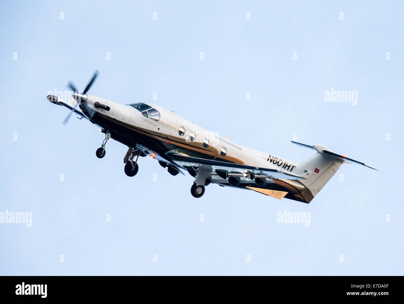 Swiss made, Pilatus PC-12 NG turboprop airplane preparing to land in Central Colorado, USA - Stock Image