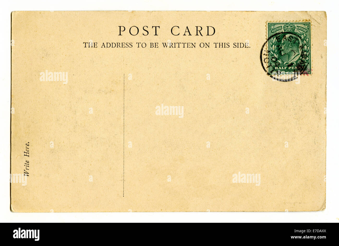 A vintage postcard over a plain white background. - Stock Image