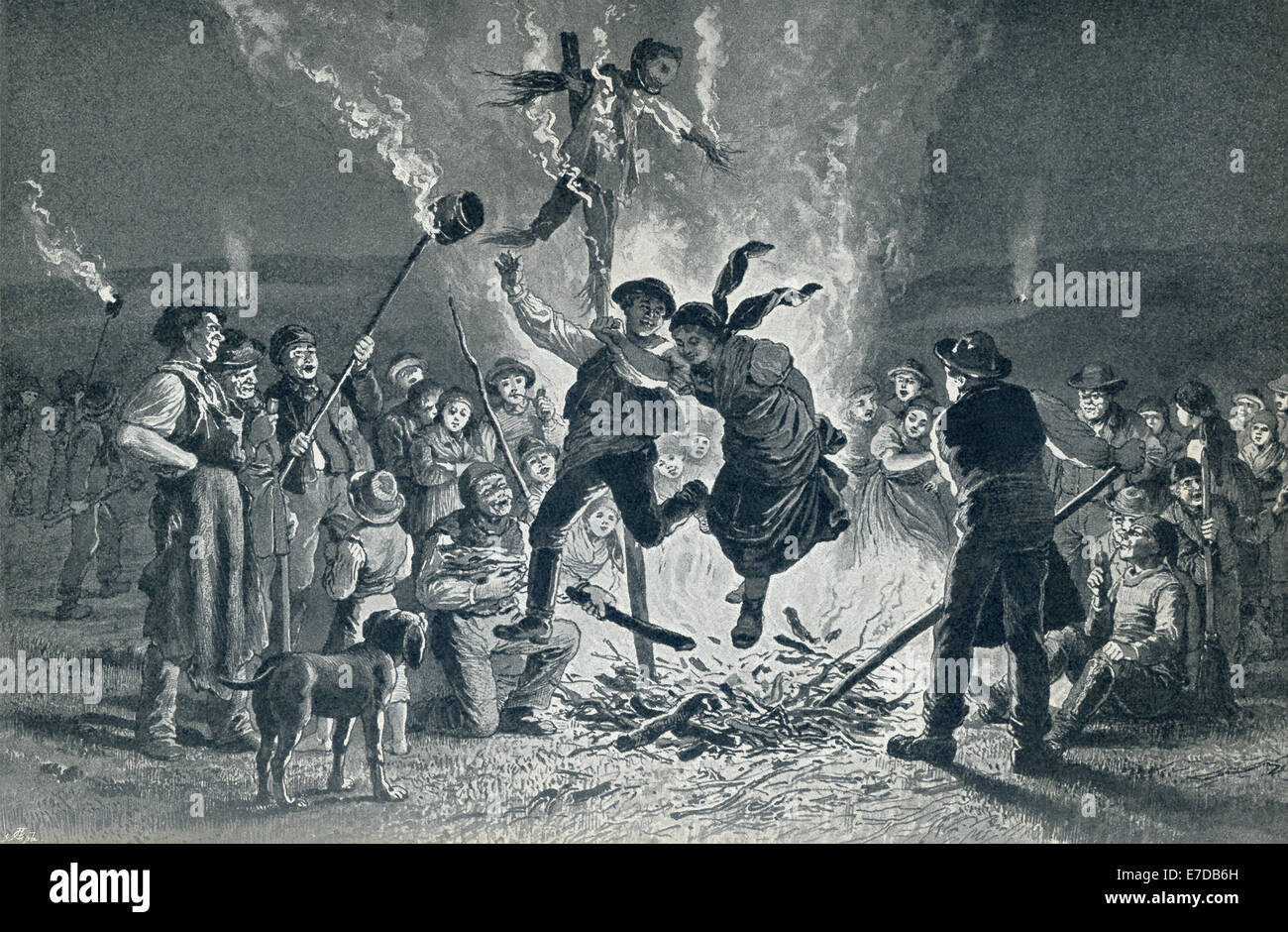 This 19th century illustration shows a Bonfire in Midsummer in 1879.  Midsummer is also known as St. John's Day.