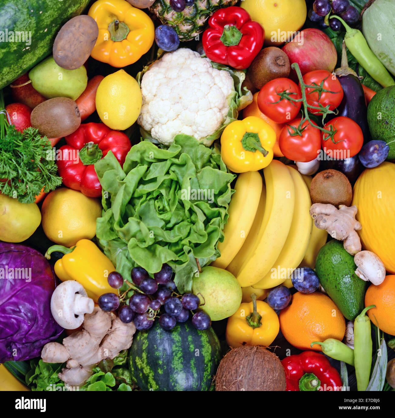 Huge group of fresh vegetables and fruit - High quality studio shot - Stock Image