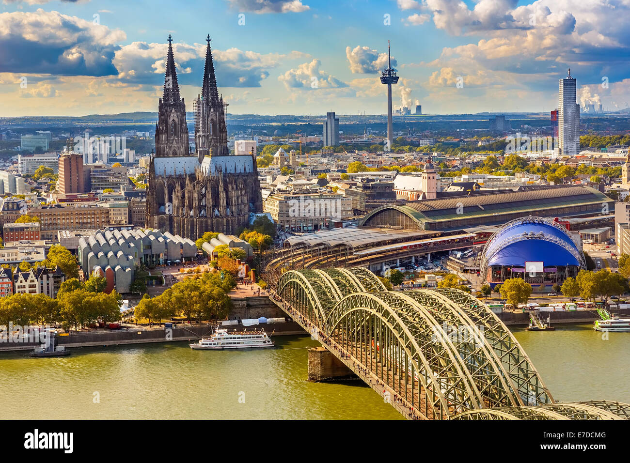 Aerial view of Cologne - Stock Image
