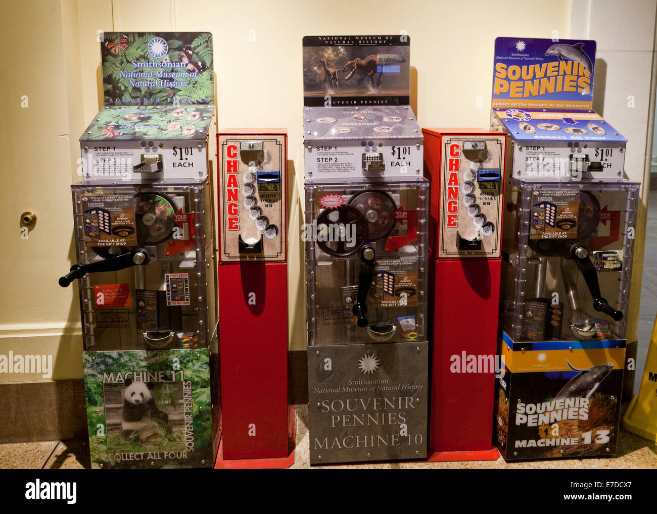 Elongated souvenir coin machines - USA - Stock Image
