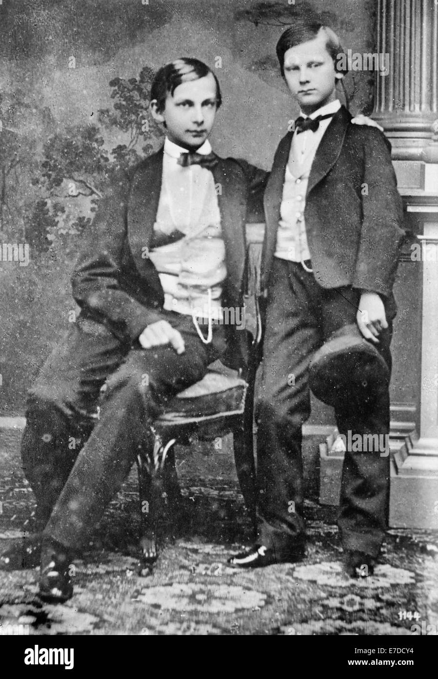 Ludwig II (1845-1886) who was King of Bavaria from 1864 to 1886, with his brother Otto (1848-1916), who succeeded - Stock Image