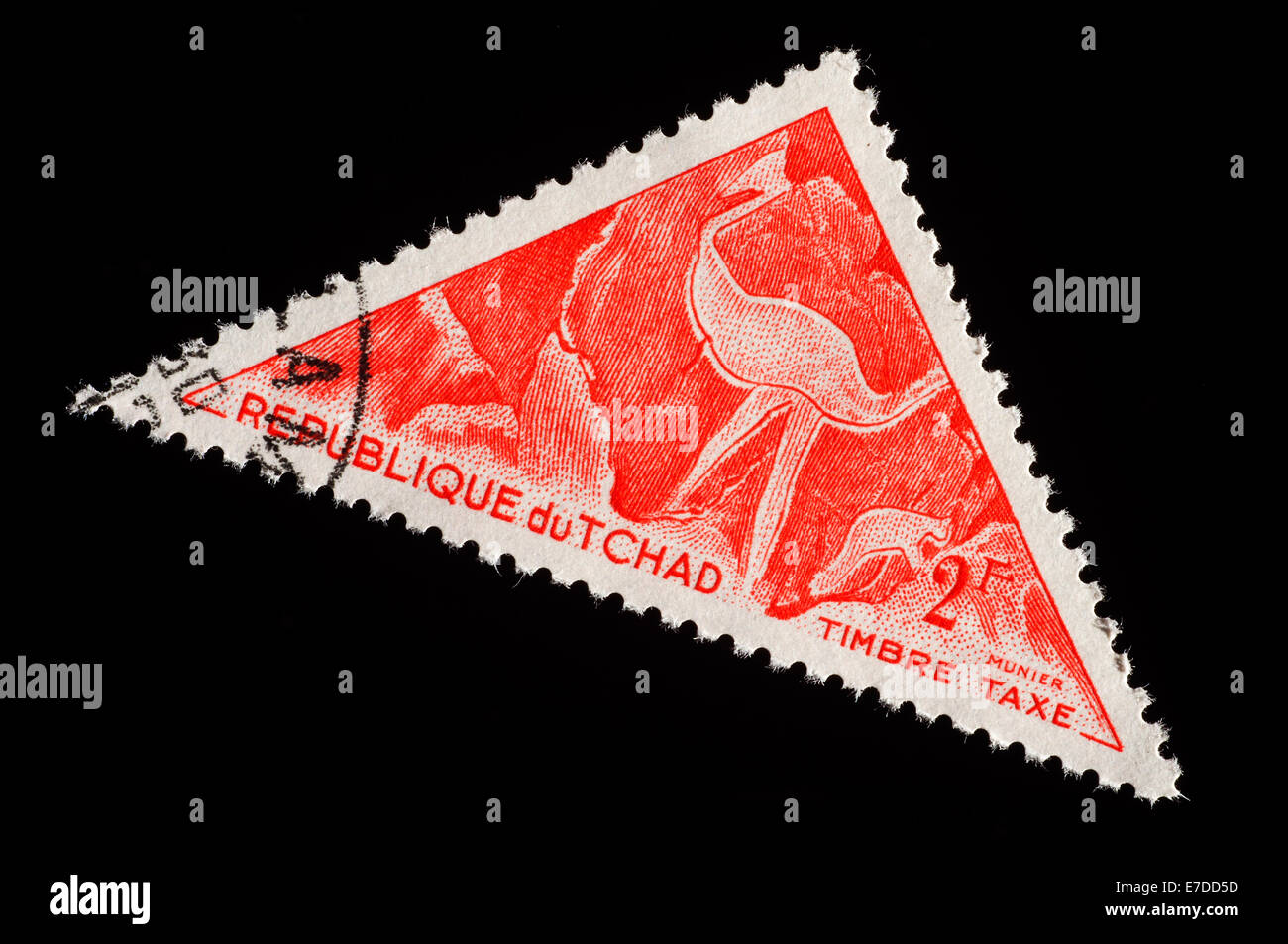 Triangular Postage stamp from Chad - Stock Image