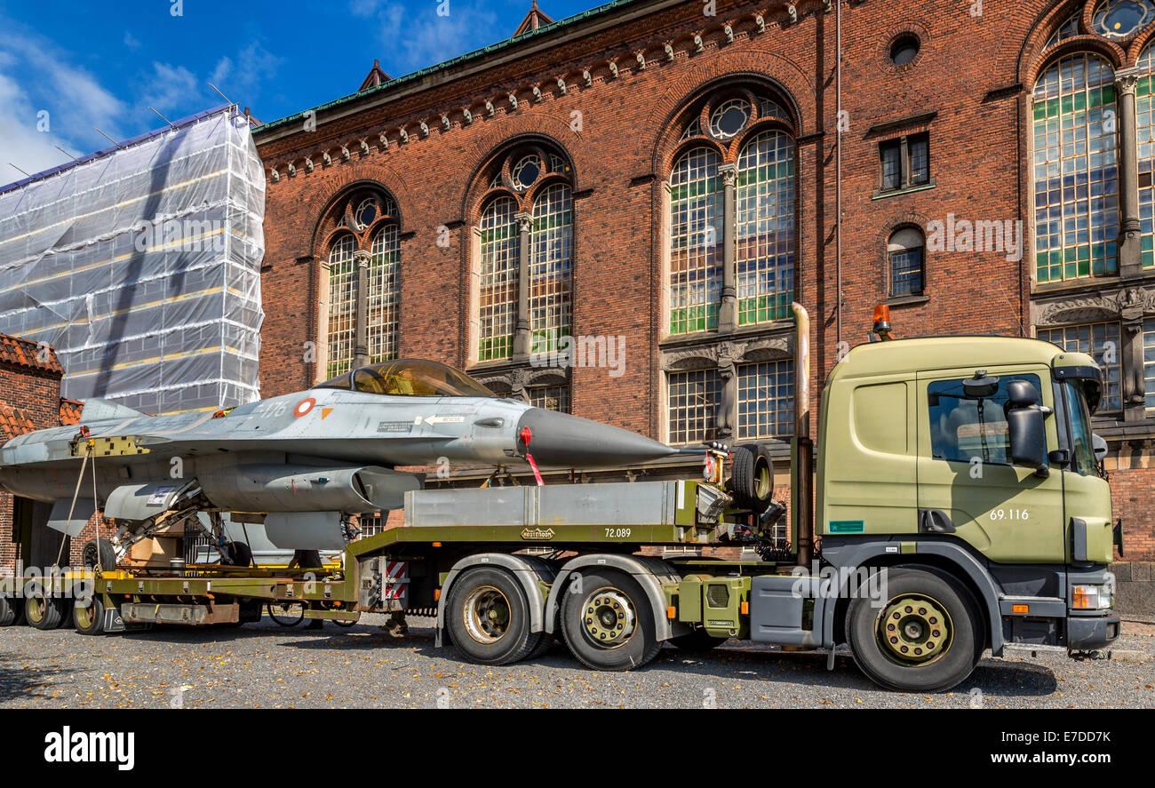 F-16 Fighter Jet with Danish marking on a truck, Copenhagen, Denmark - Stock Image