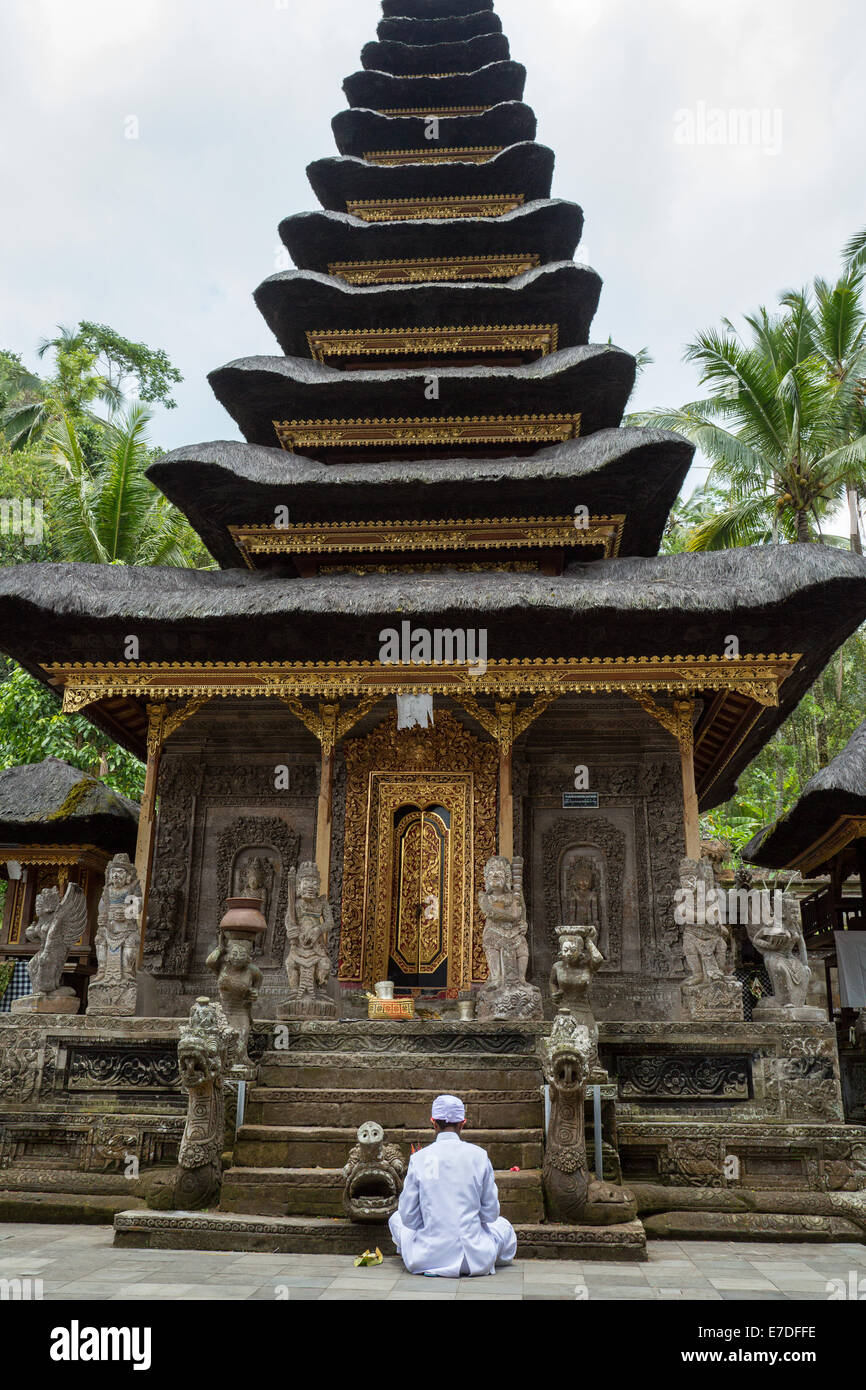 Hindu priest praying inside Pura Kehen, Kintamani, Bali - Stock Image