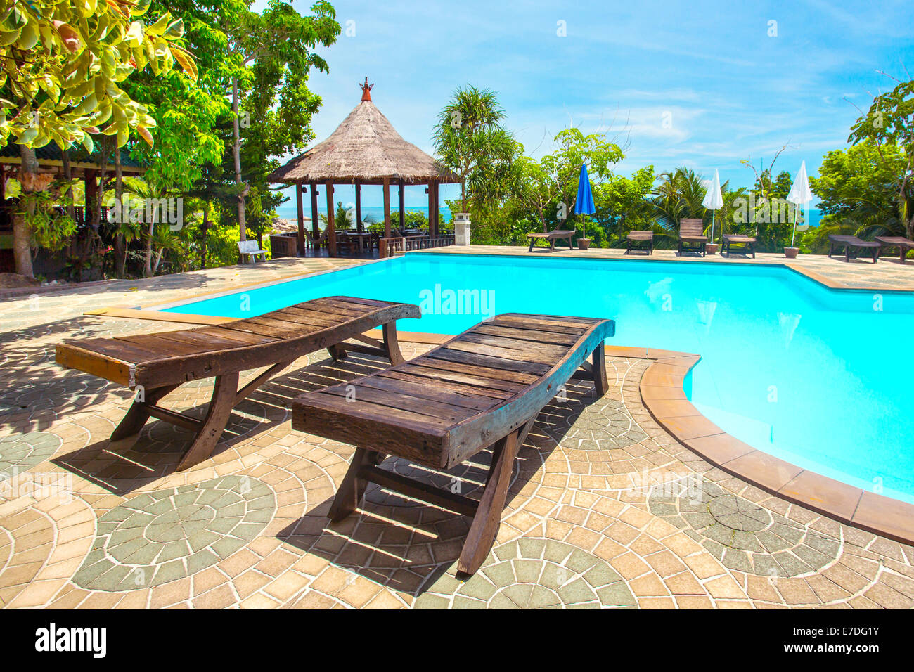 Swimming pool in the luxury spa resort Stock Photo