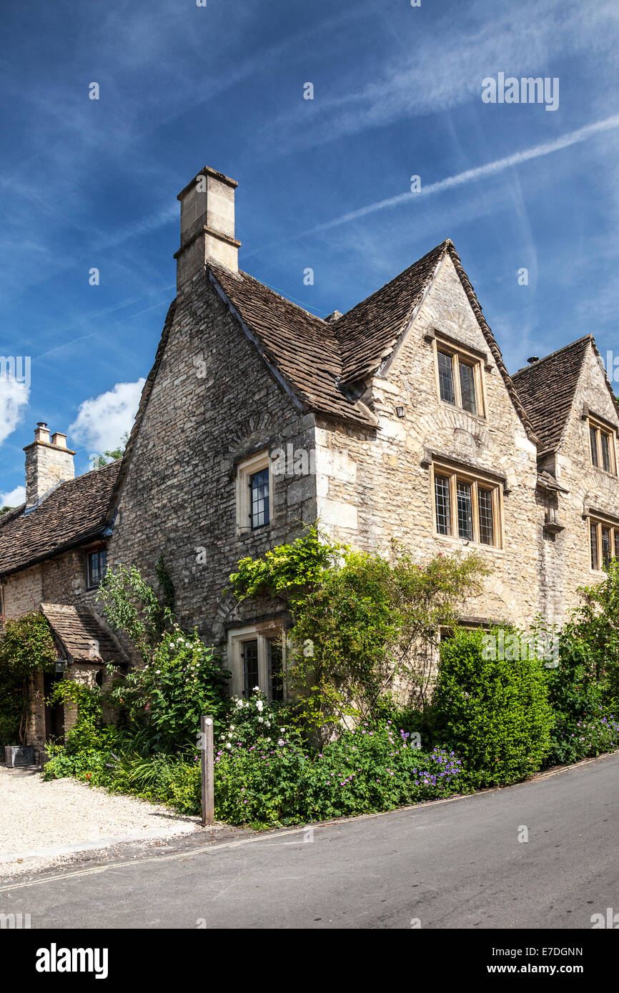 Cotswold stone houses in the village of Castle Combe in Wiltshire. Stock Photo
