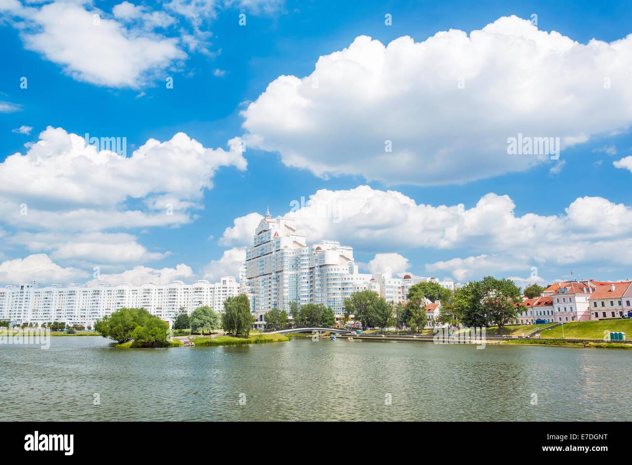 Nemiga district and Svisloch river in Minsk, Belarus - Stock Image