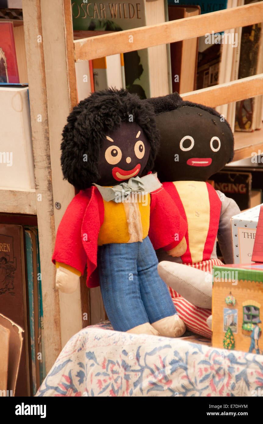 Secondhand Golliwogs on Sale in Market - Stock Image