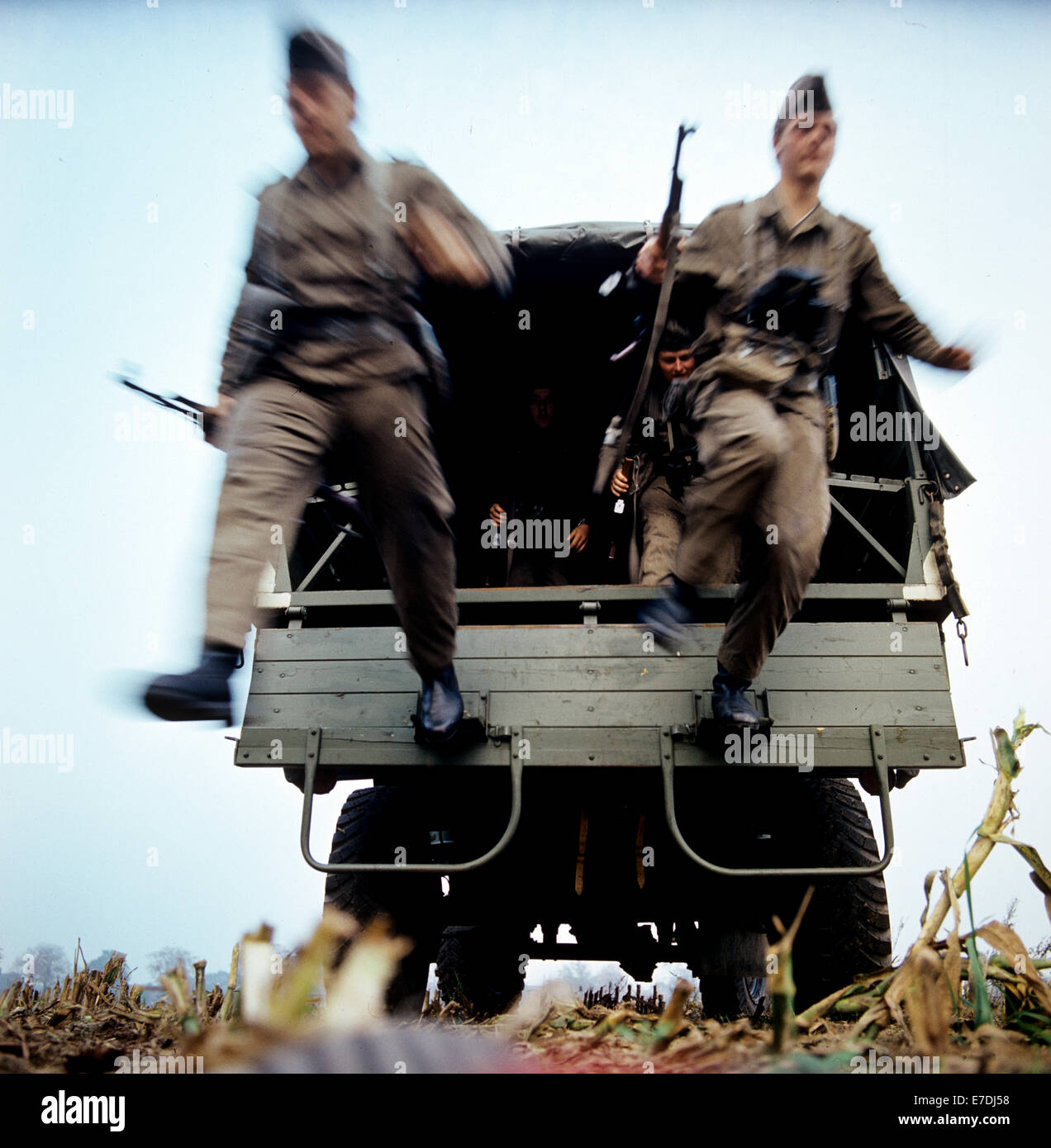 Border Soldiers Jump Out Of A Truck At The Inner German Border Near Wootz  An Der
