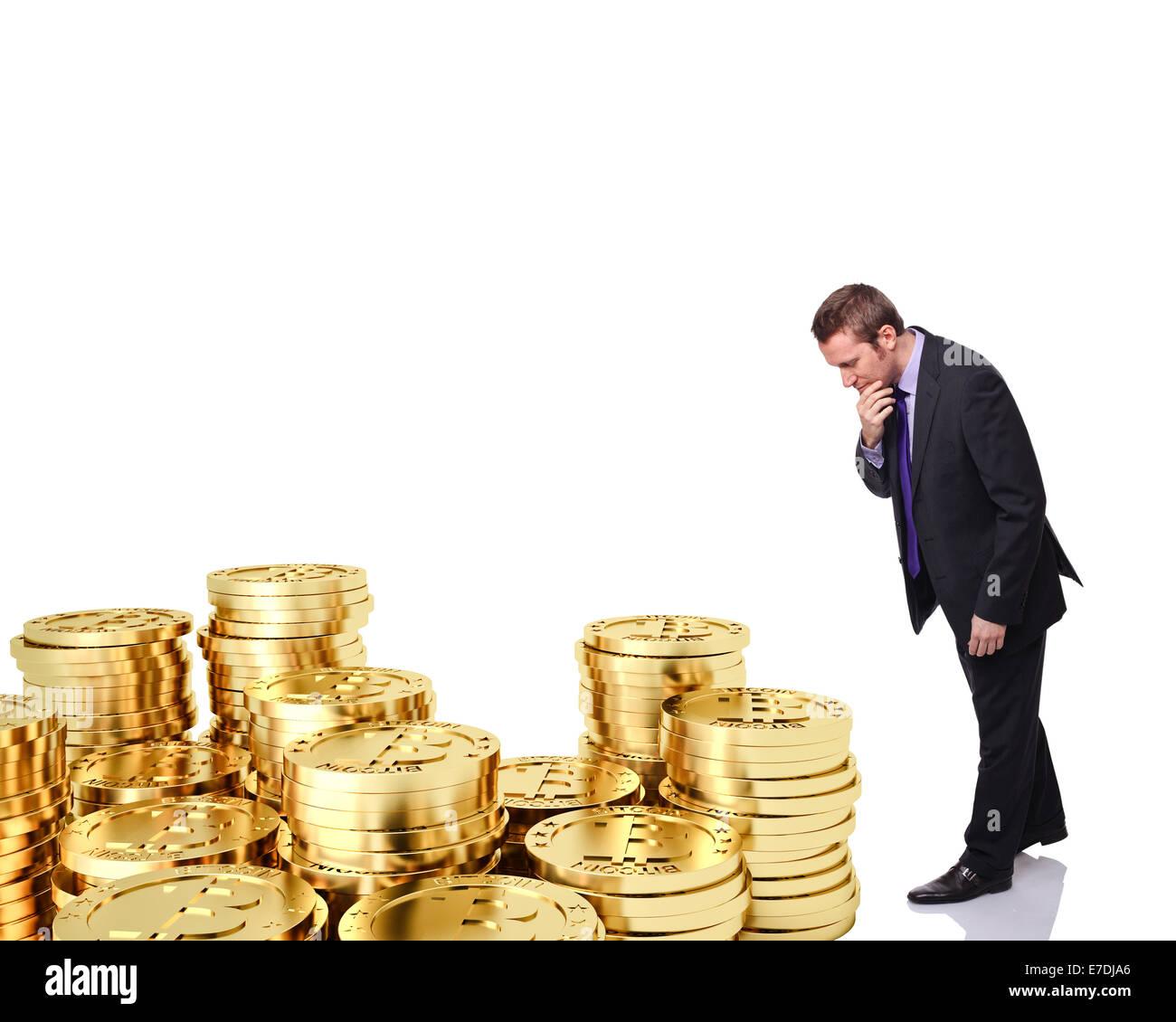 dubious man look golden bitcoin - Stock Image