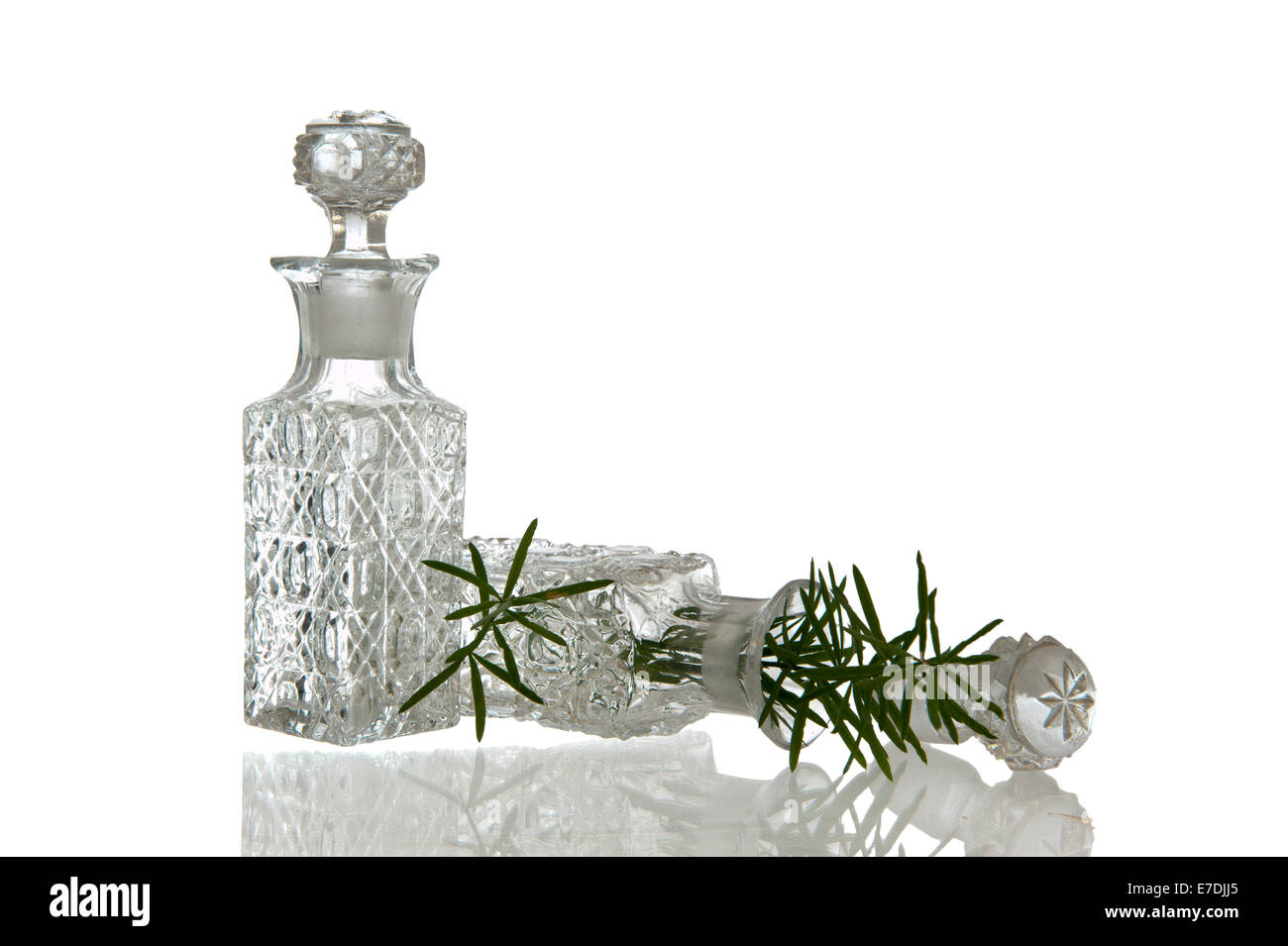 Two sparky glass vinegar bottles with decorative facet structure plugs and plant Stock Photo