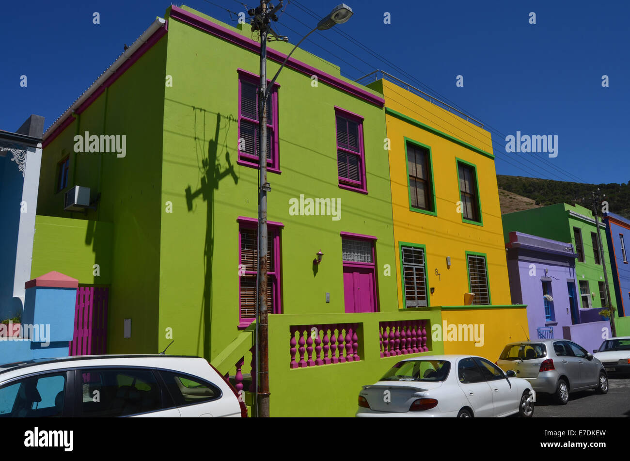 Brightly coloured houses in Bo Kaap, muslim area of Cape Town. South Africa 2014 - Stock Image