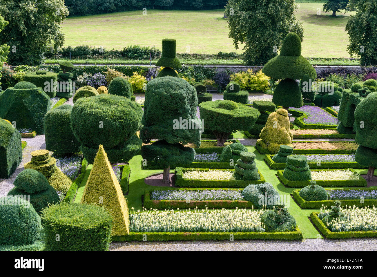 Levens Hall, Cumbria, UK. A late 16c manor house famous for its eccentric topiary garden, owned by the Bagot family Stock Photo