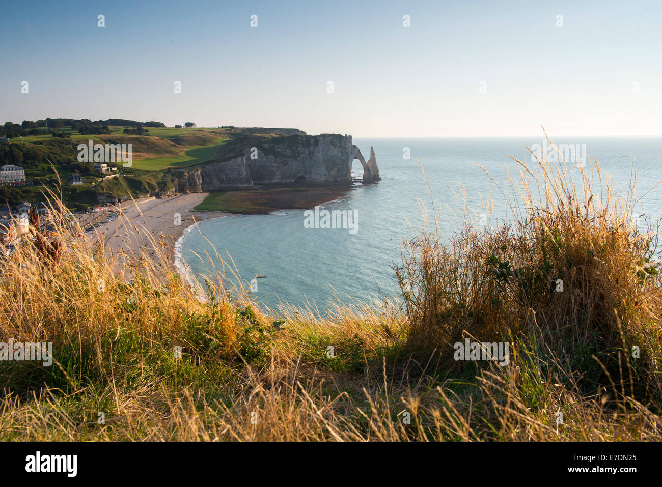 A view down onto the beach at Etratat on the coast of Normandy in Northern France EU - Stock Image