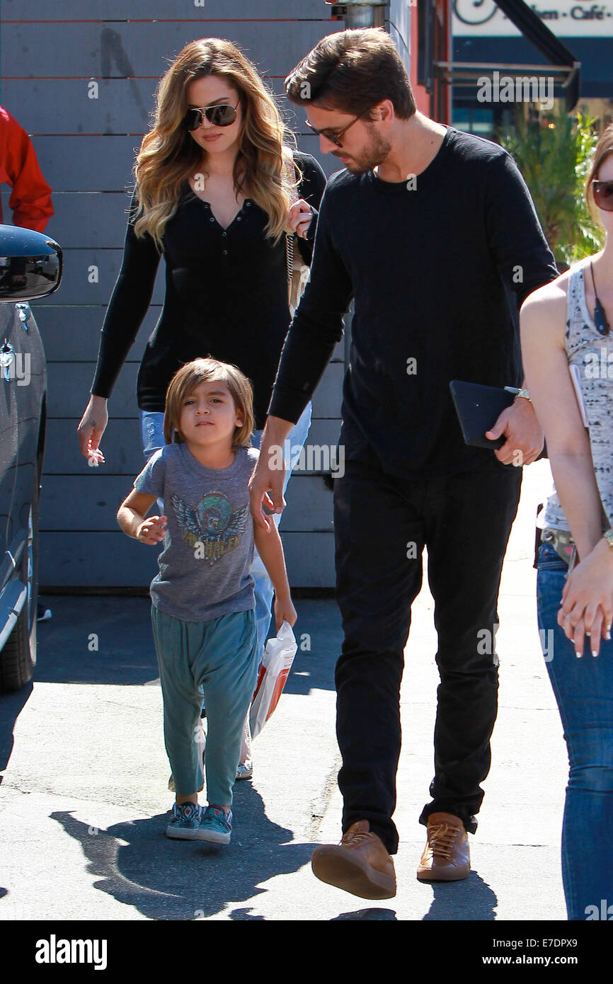 Scott Disick and Khloe Kardashian with Mason, shooting scenes for 'Keeping Up With The Kardashians' head - Stock Image
