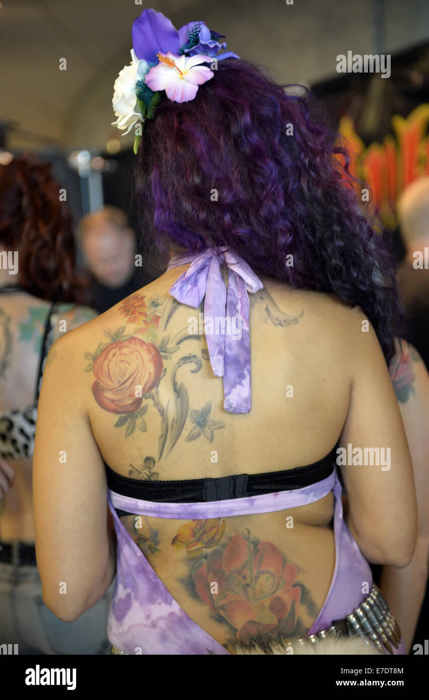 Garden City, New York, USA. 14th Sep, 2014. LEI LANI is the newly crowned Ink Angel, seen from the back in purple - Stock Image