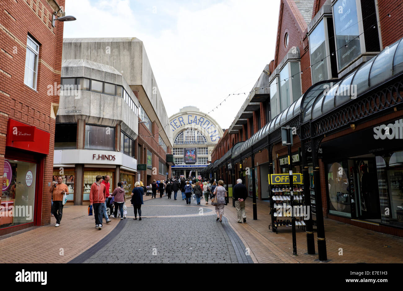 Pedestrian precinct in Blackpool, leading up to the Winter Gardens - Stock Image