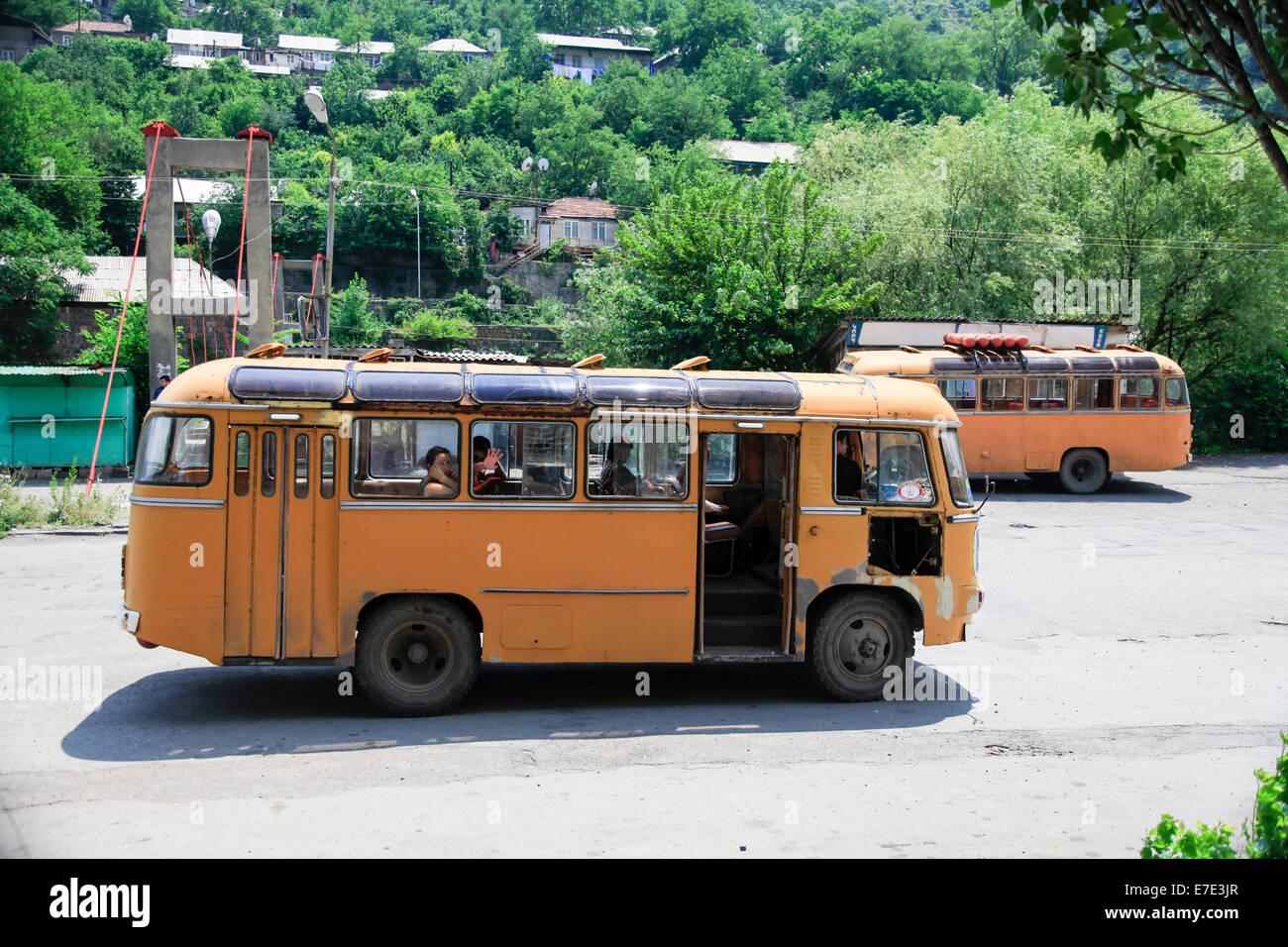 Armenian public transport bus Haghpat, Lori Province, Armenia - Stock Image