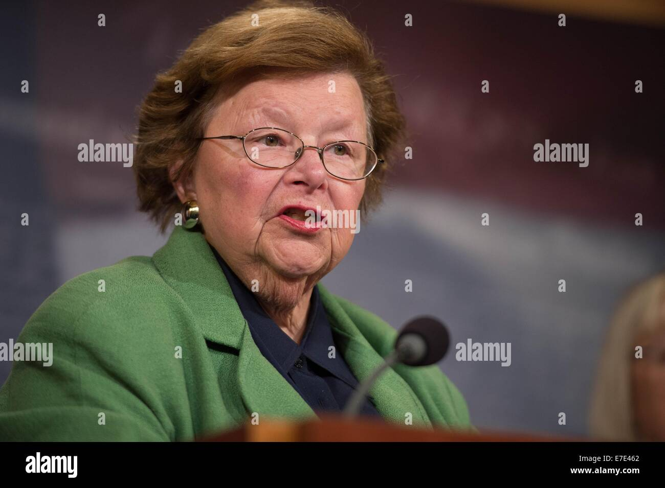 US Democratic Senator Barbara Mikulski during a press conference calling on Republicans to support equal pay for - Stock Image