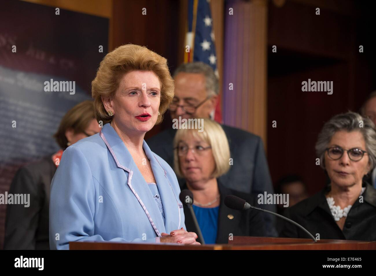 US Democratic Senator Debbie Stabenow during a press conference calling on Republicans to support equal pay for - Stock Image